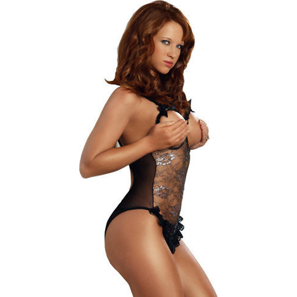 Erotic Body Open Bra and Crotch Teddy with Silver Pattern Black One Size - View #3