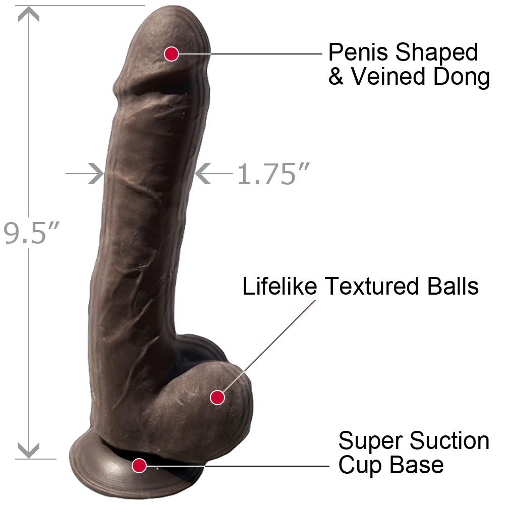 "Hott Products Skinsations Python Dildo 9.5"" Black - View #1"