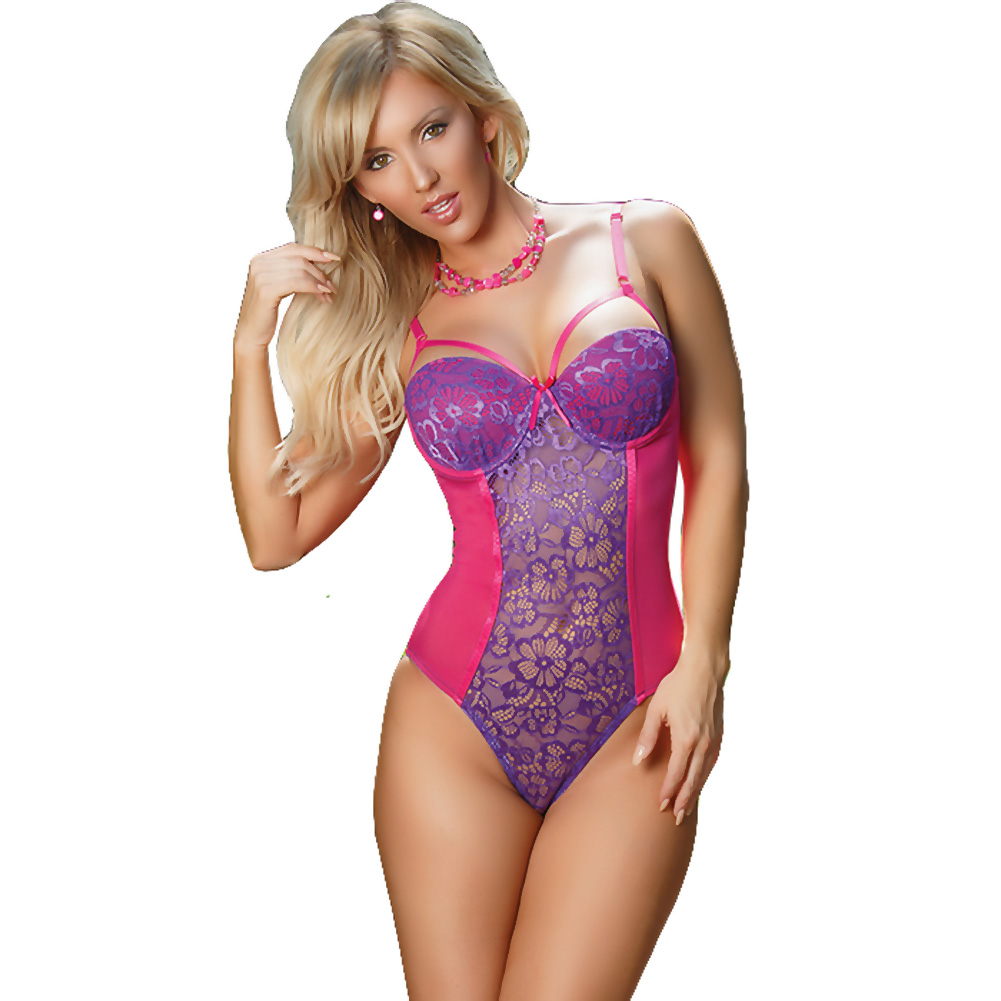Sheer Passion Teddy W Snap Crtch Purple Medium - View #1