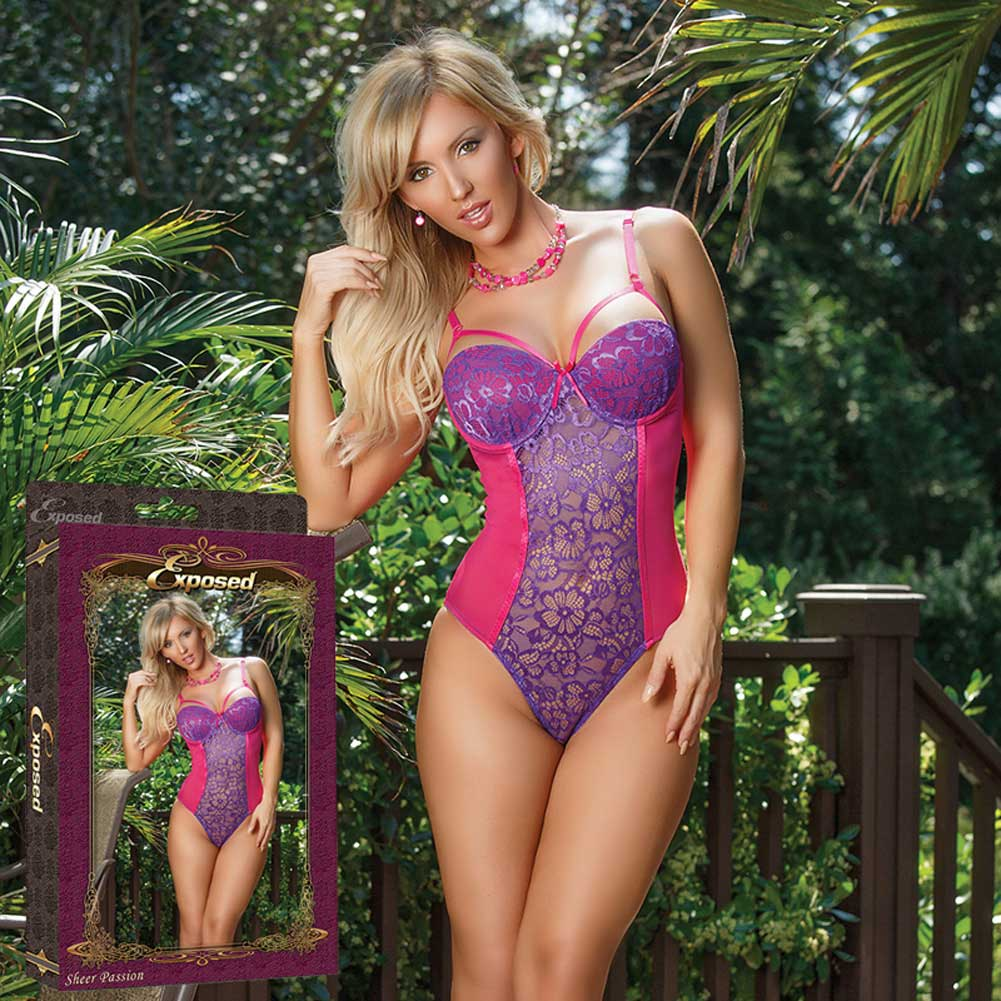 Sheer Passion Teddy W Snap Crtch Purple Medium - View #4