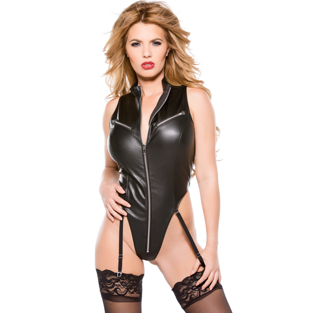 Faux Leather Teddy Black Large - View #1