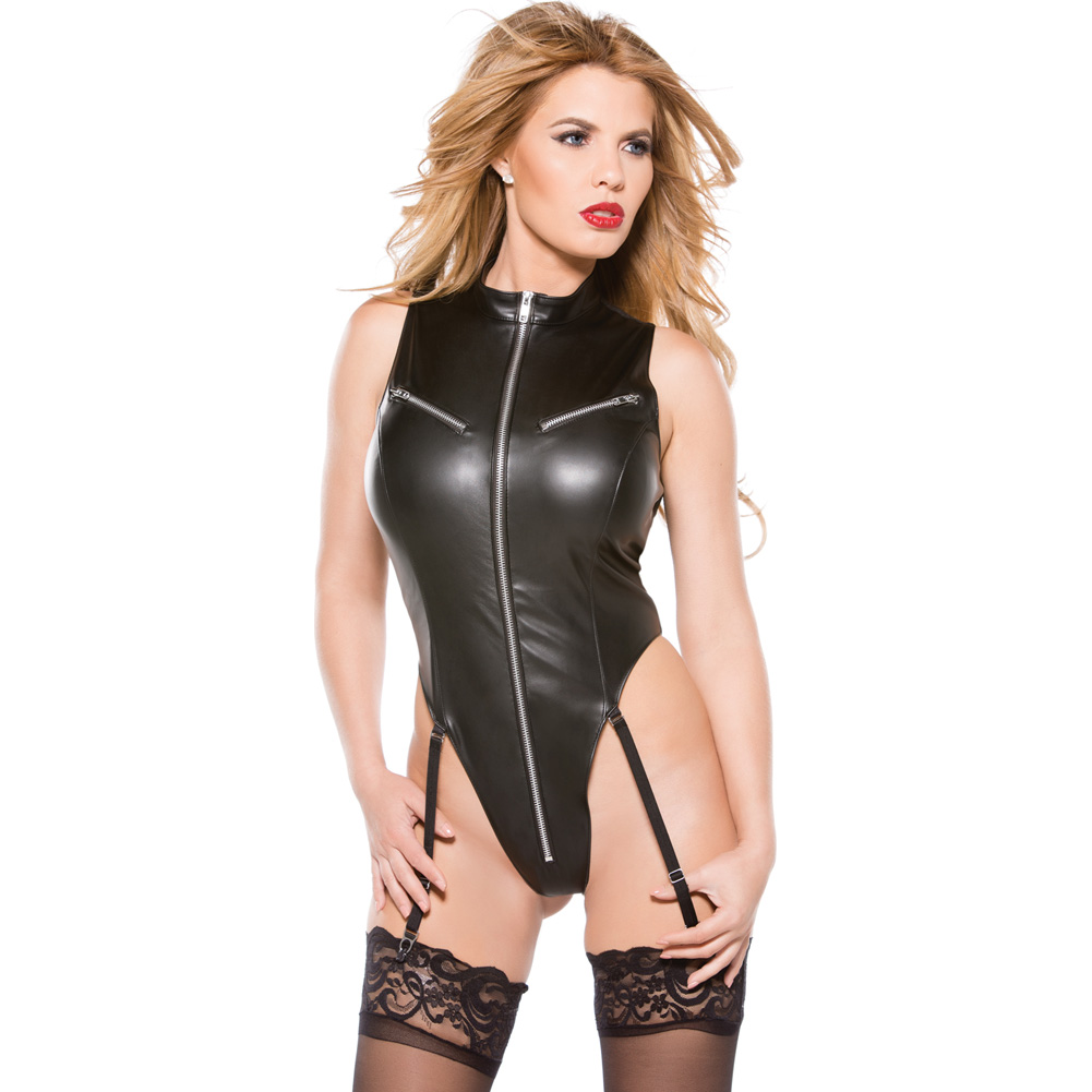 Faux Leather Teddy Black Large - View #3