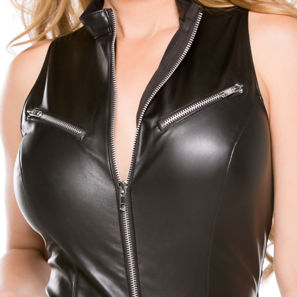 Faux Leather Teddy Black Large - View #4