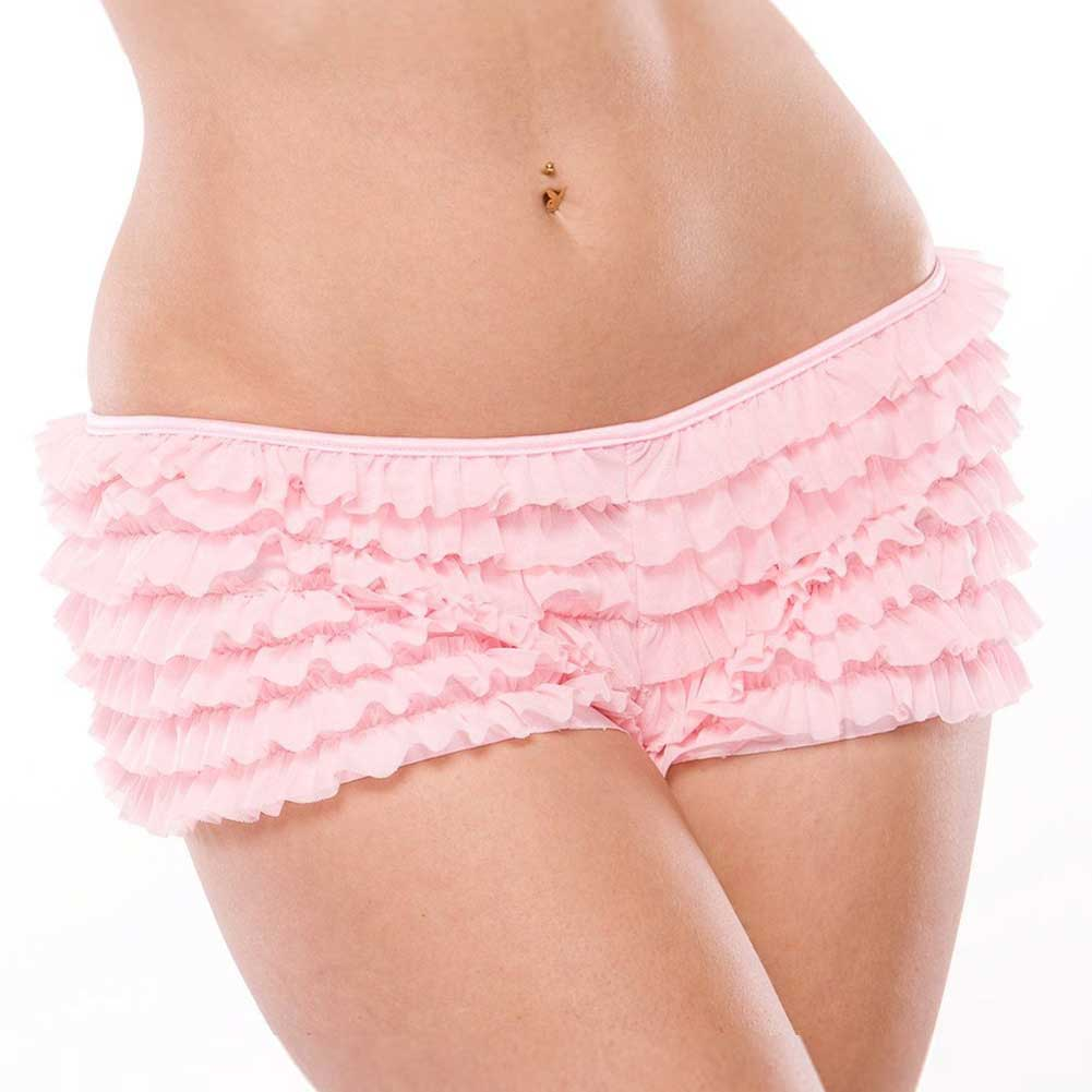 Coquette Lingerie Ruffle Shorts with Back Bow Detail One Size Pink - View #2