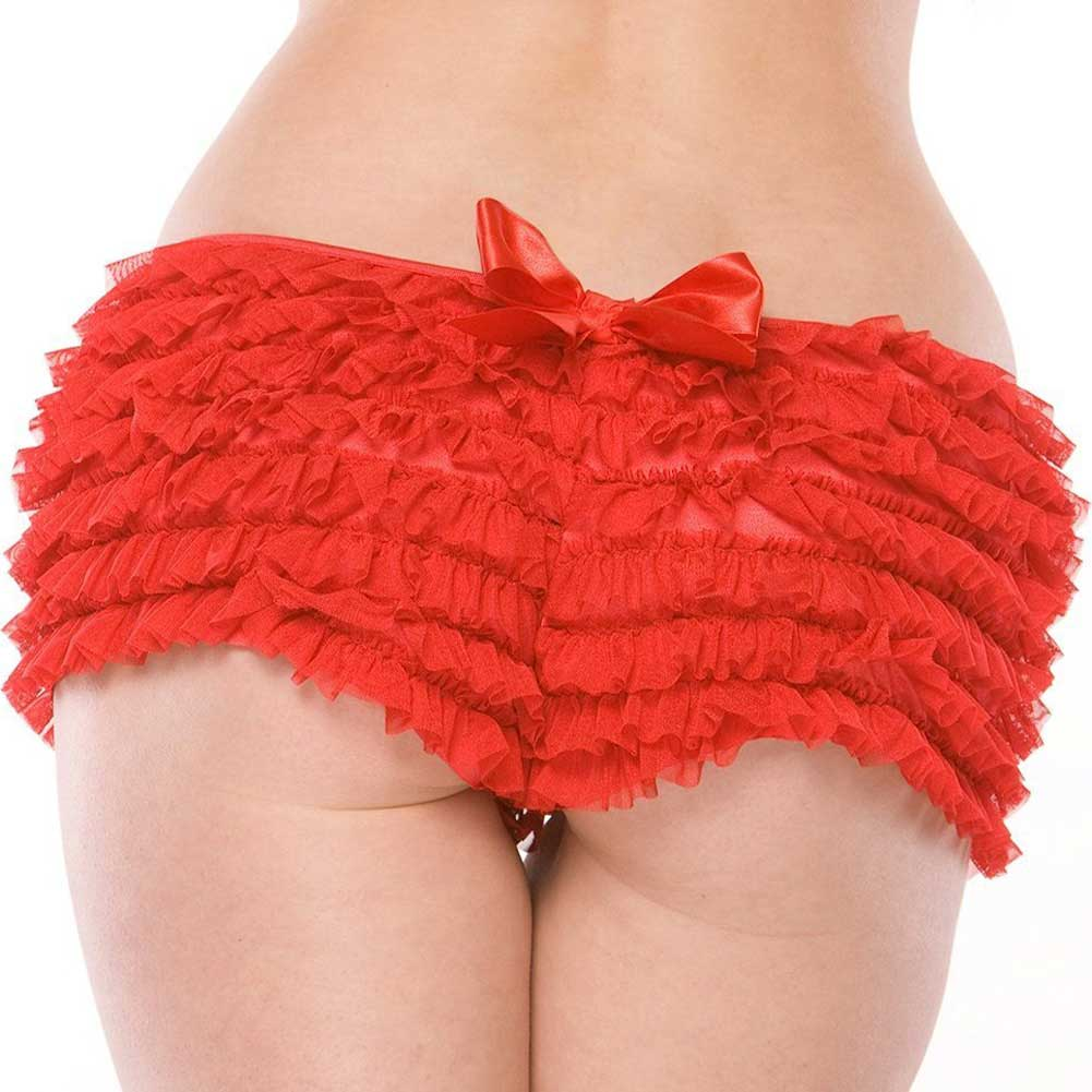 Coquette Lingerie Ruffle Shorts with Back Bow Detail XXL Red - View #1