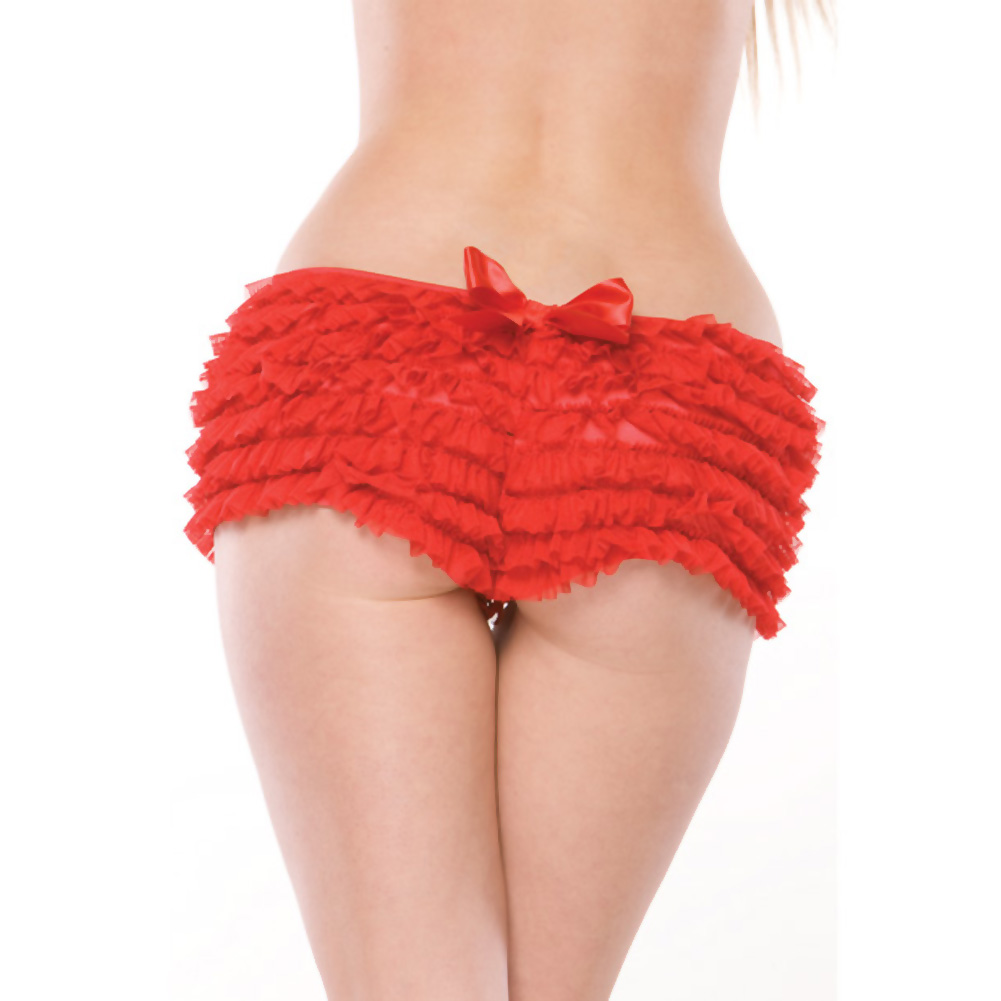 Coquette Lingerie Ruffle Shorts with Back Bow Detail XXL Red - View #3
