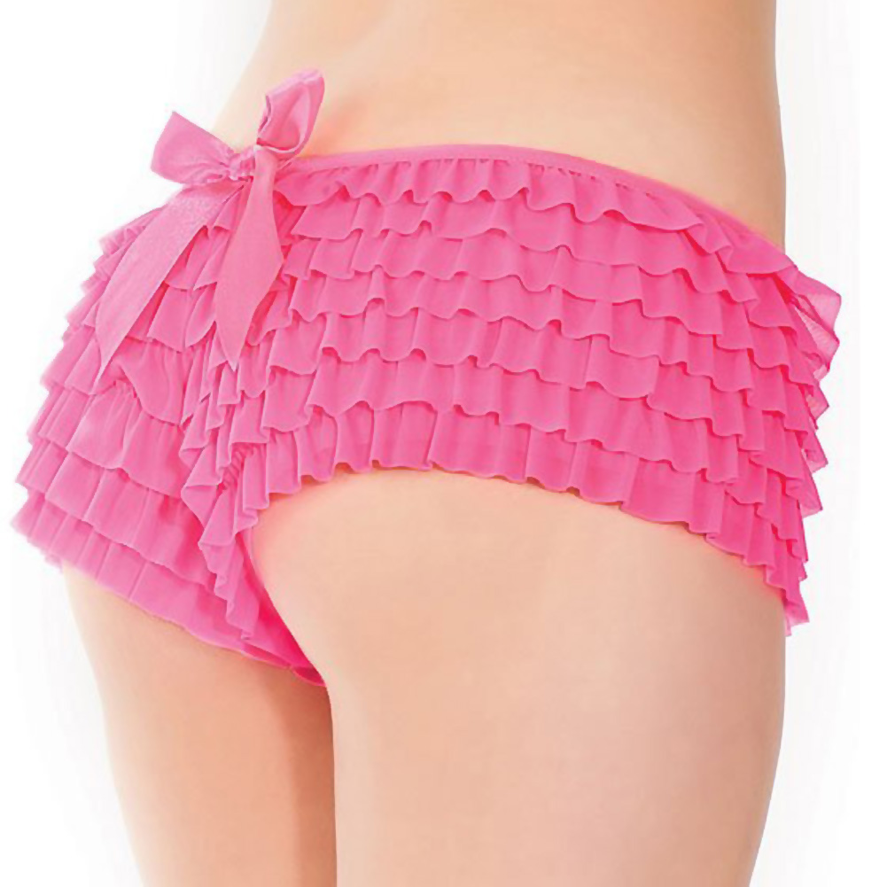 Coquette Lingerie Ruffle Shorts with Back Bow Detail XXL Neon Pink - View #1