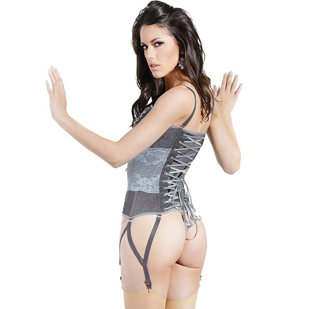 Spellbound Stretch Knit Corset with Removable Straps and Garters Dark Silver Silver Extra Large - View #2