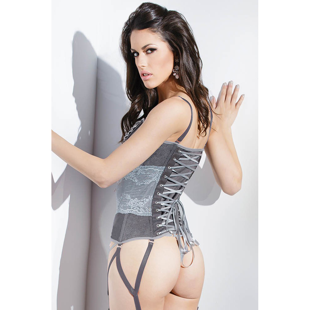 Spellbound Stretch Knit Corset with Removable Straps and Garters Dark Silver Silver Extra Large - View #4