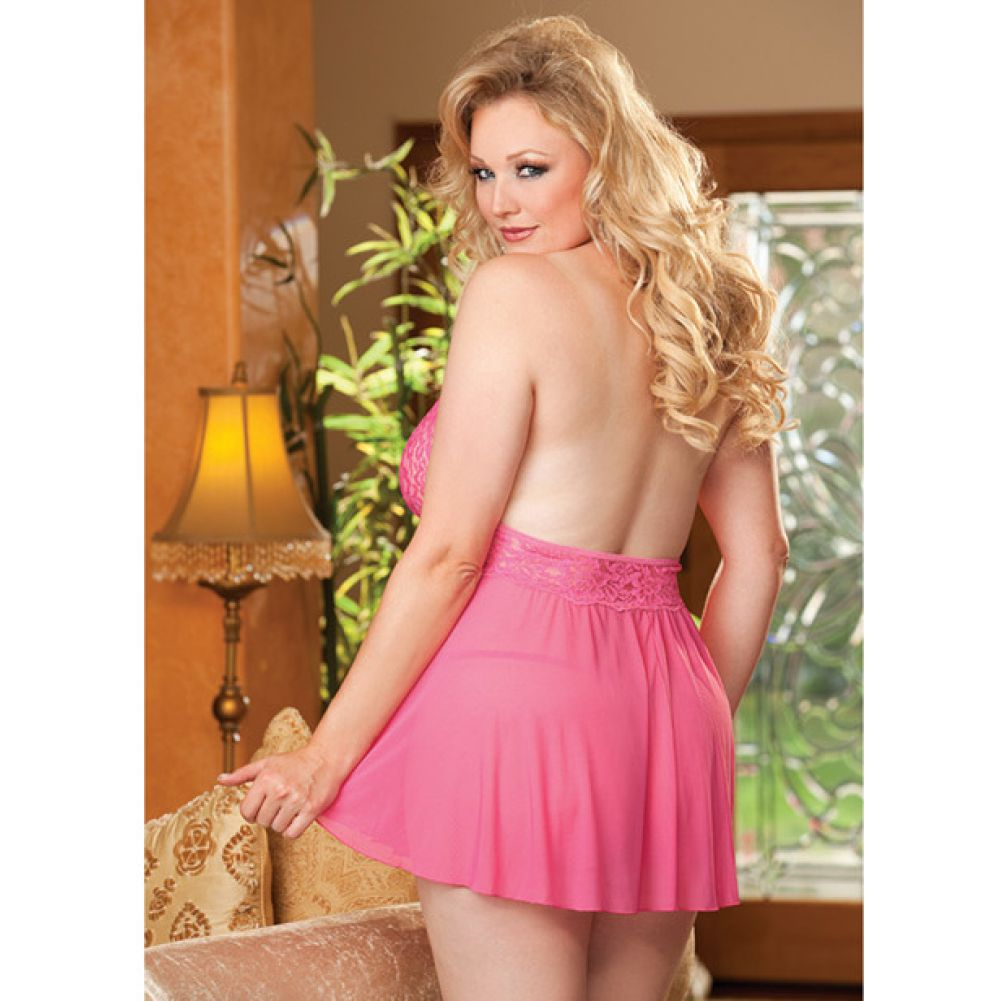Shirley of Hollywood Sheer Babydoll with Lace and Bow 3X/4X Hot Pink - View #4