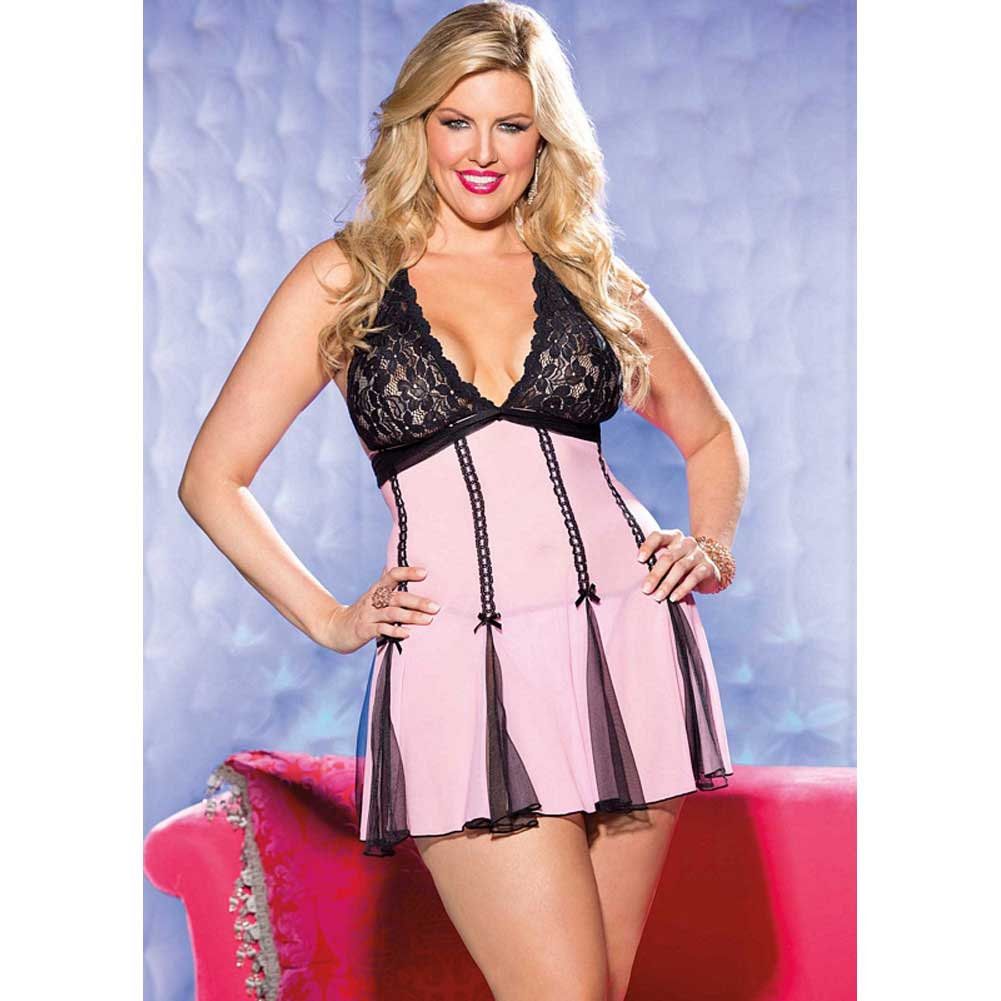 Stretch Lace and Net Halter Babydoll Set 3X/4X Pink/Black - View #3
