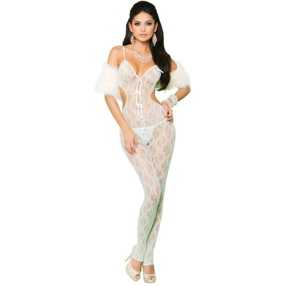 Vivace Lace Bodystocking Open Crotch Satin Bow Detail Mint Green OS - View #1