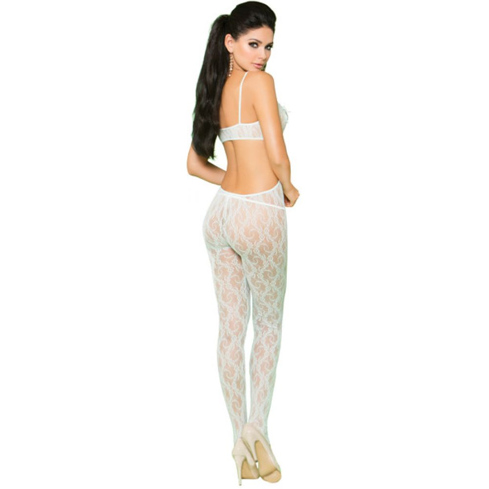 Vivace Lace Bodystocking Open Crotch Satin Bow Detail Mint Green OS - View #2