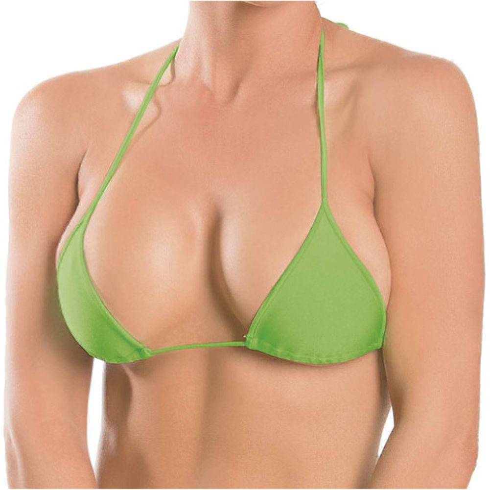 Escante Triangle Micro Fiber Top with String Halter Ties OS Lime - View #1