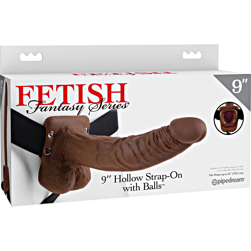 """Fetish Fantasy Series Realistic Hollow Strap-On Dong with Balls 9"""" Brown - View #4"""