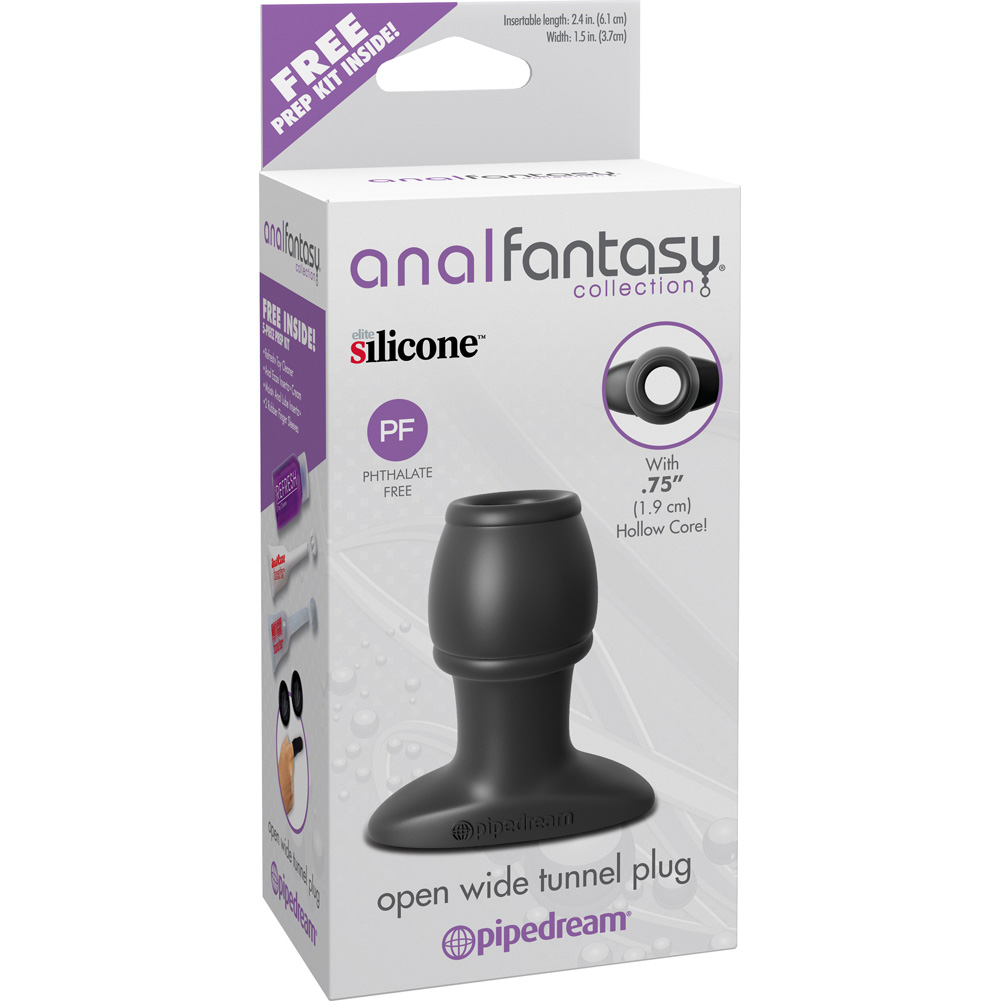 """Pipedreams Anal Fantasy Collection Open Wide Tunnel Plug 2.5"""" Medium Slate - View #1"""