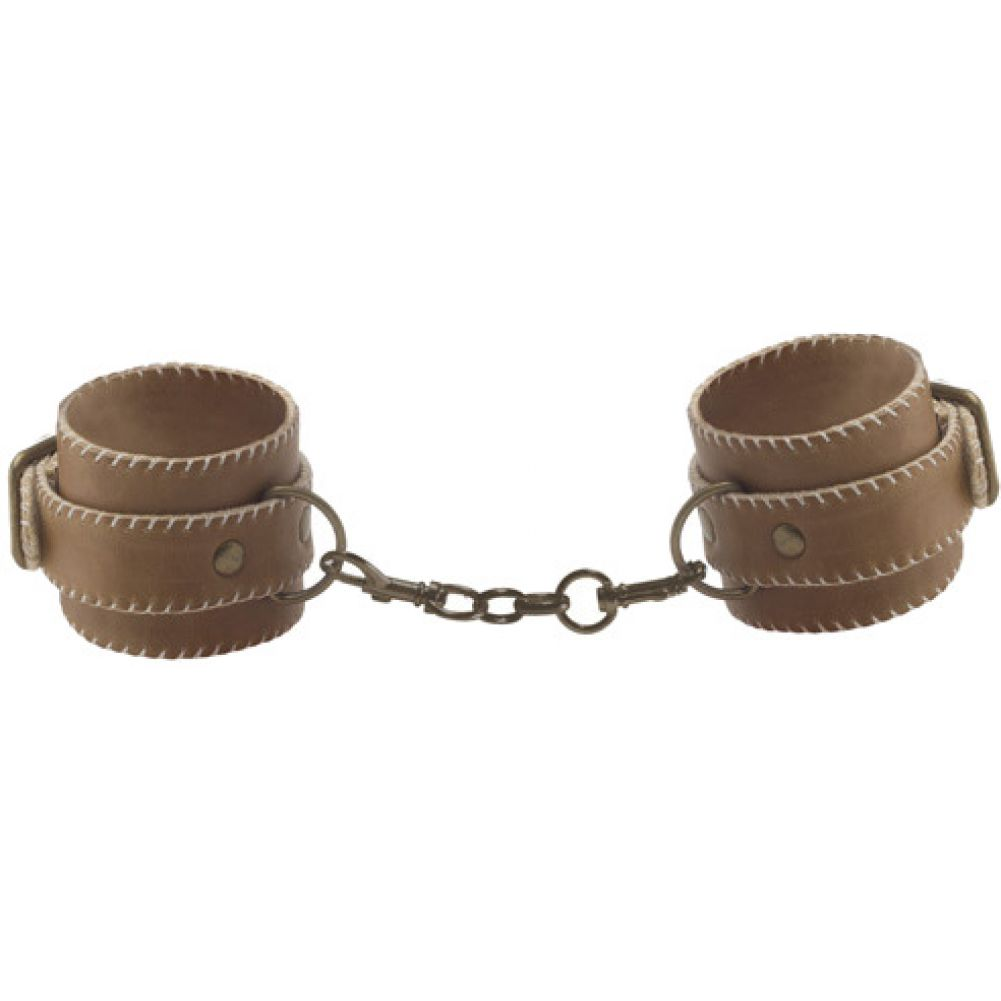 Ouch Premium Bonded Leather Hand Cuffs Brown - View #2