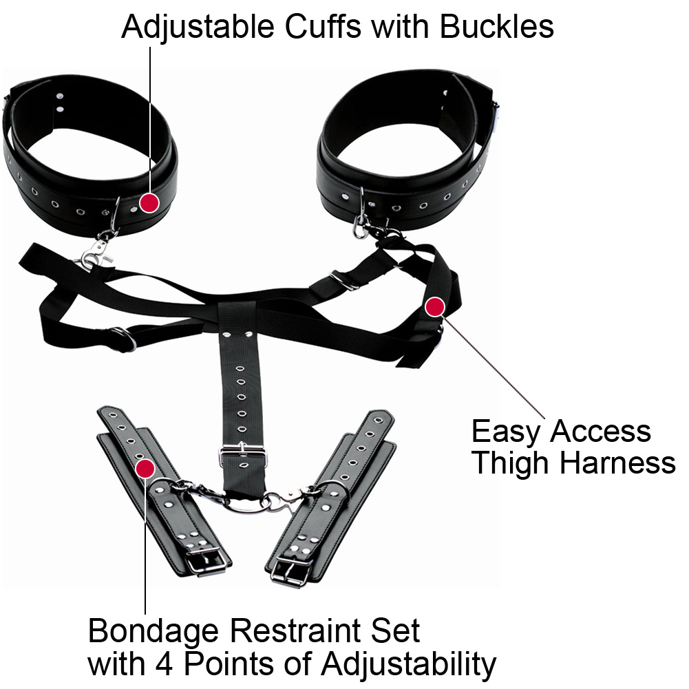 Master Series Acquire Easy Access Harness with Wrist Cuffs Adjustable Size Black - View #1