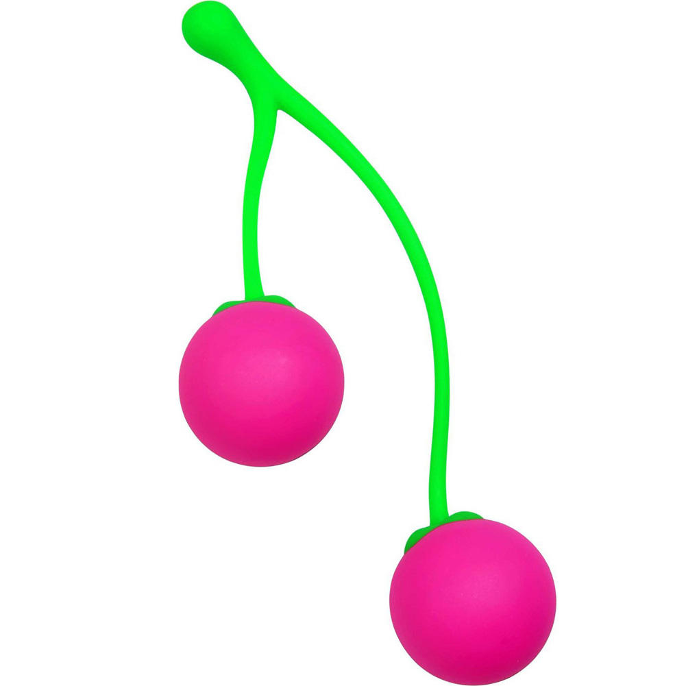 Frisky Charming Cherries Silicone Kegel Exercisers Pink/Green - View #3