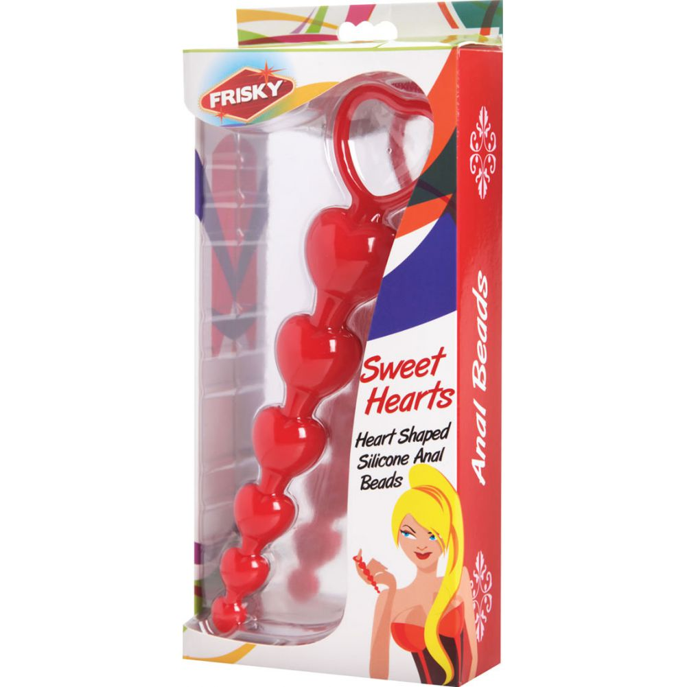 "Frisky Sweet Heart Silicone Anal Beads 6"" Red - View #1"