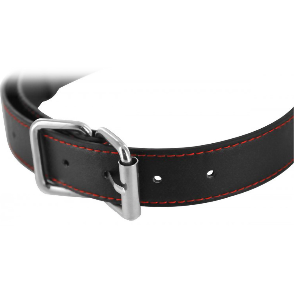 Frisky Subdue Me Adjustable Faux Leather Breathable Ball Gag Black and Red - View #3