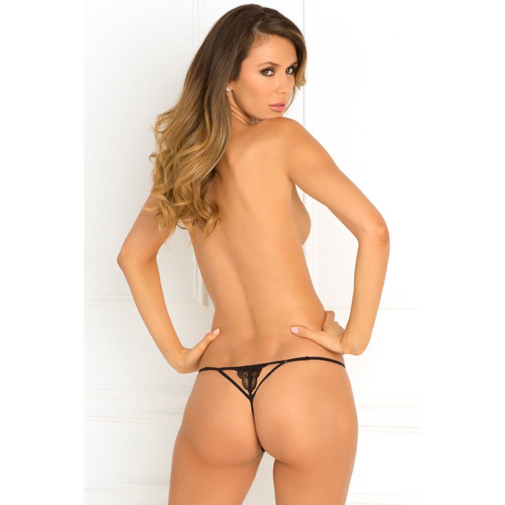 Rene Rofe Get Your Back Crotchless Thong Small/Medium Black - View #4