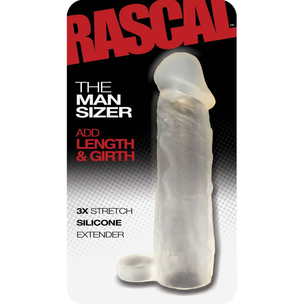 """2"""" Extra Length Rascal Silicone Penis Extension with Ball Strap 6.5"""" Clear - View #1"""