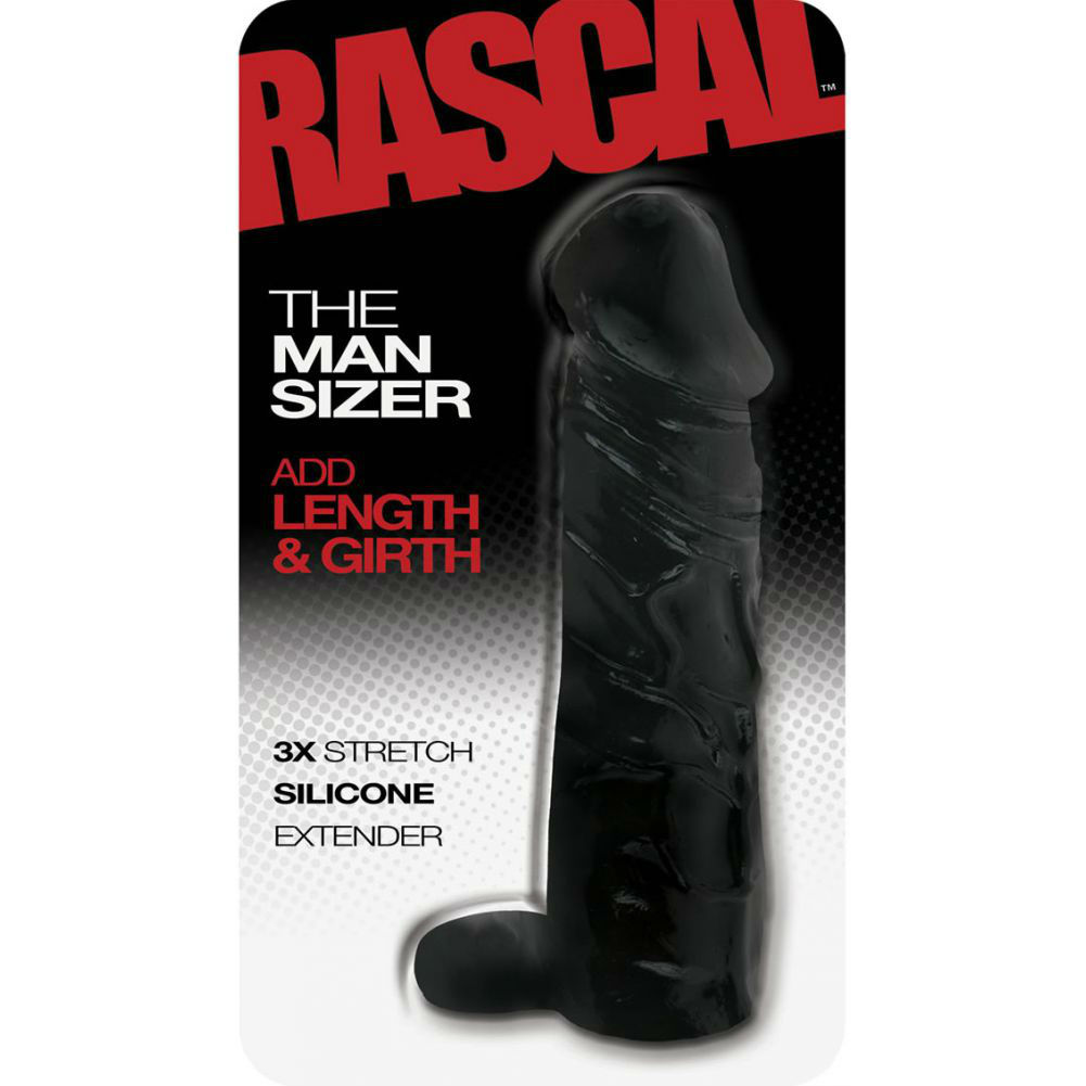 "2"" Extra Length Rascal Silicone Penis Extension with Ball Strap 6.5"" Black - View #1"