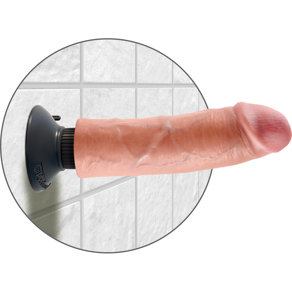 "King Cock Vibrating Realistic Cock with Suction Mount Base 8"" Flesh - View #4"