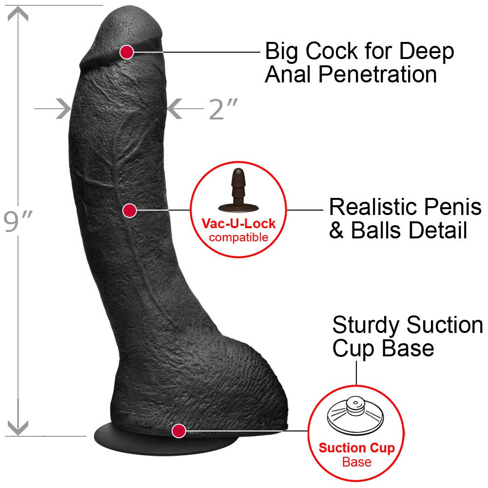 "KINK by Doc Johnson Perfect UltraSkyn P-Spot Cock 9"" Black - View #1"