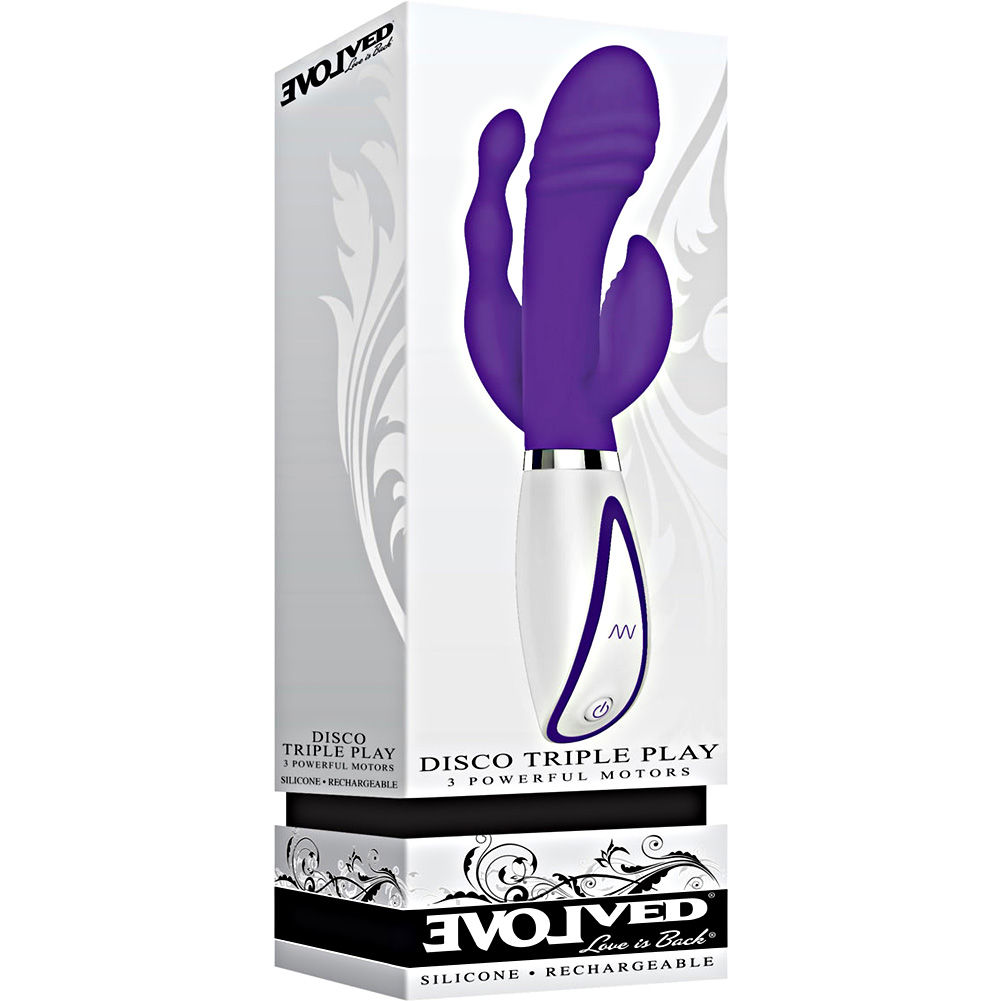 """Disco Triple Play Silicone Vibrator by Evolved Novelties 8.75"""" Purple - View #4"""