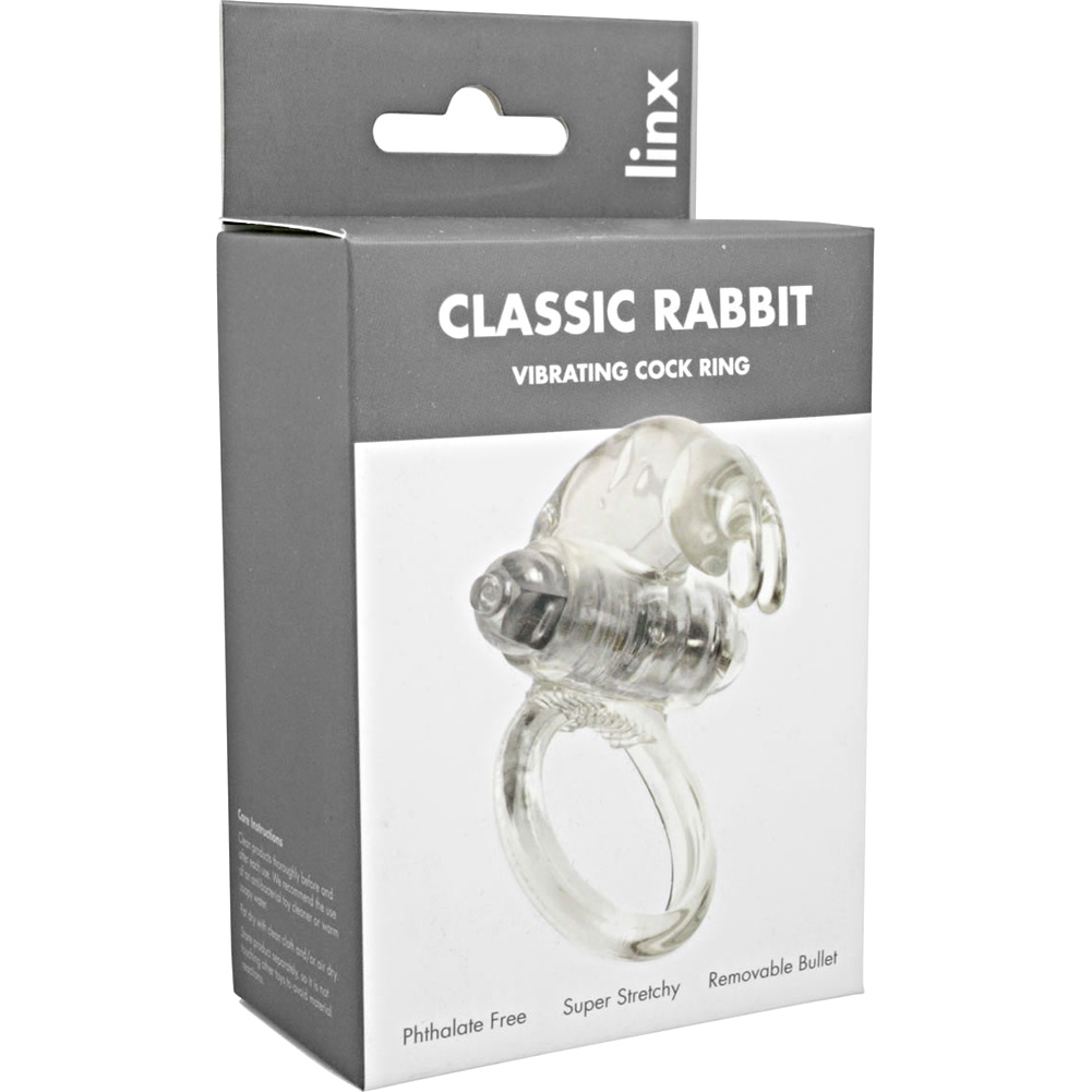 Simply Pleasure Linx Classic Rabbit Vibrating Cock Ring Crystal Clear - View #1