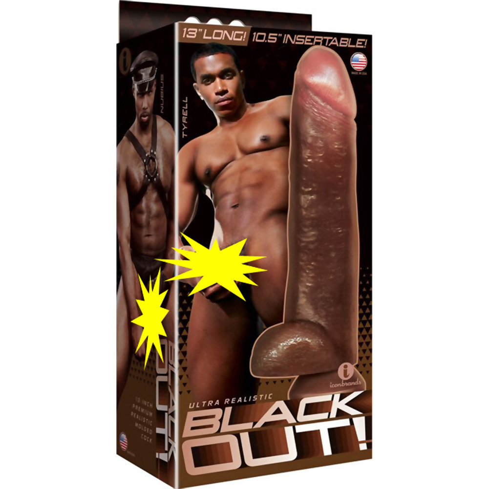 """Blackout Realistic Cock and Balls with Suction Cup 13"""" Black - View #1"""