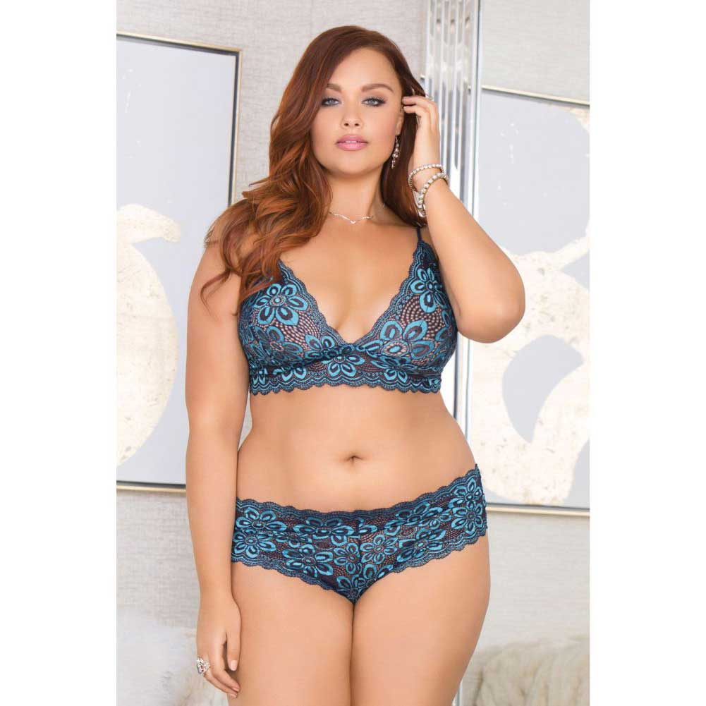 334643266e Icollection Lace Bralette Panty Set Adjustable Straps 2x Plus Size ...