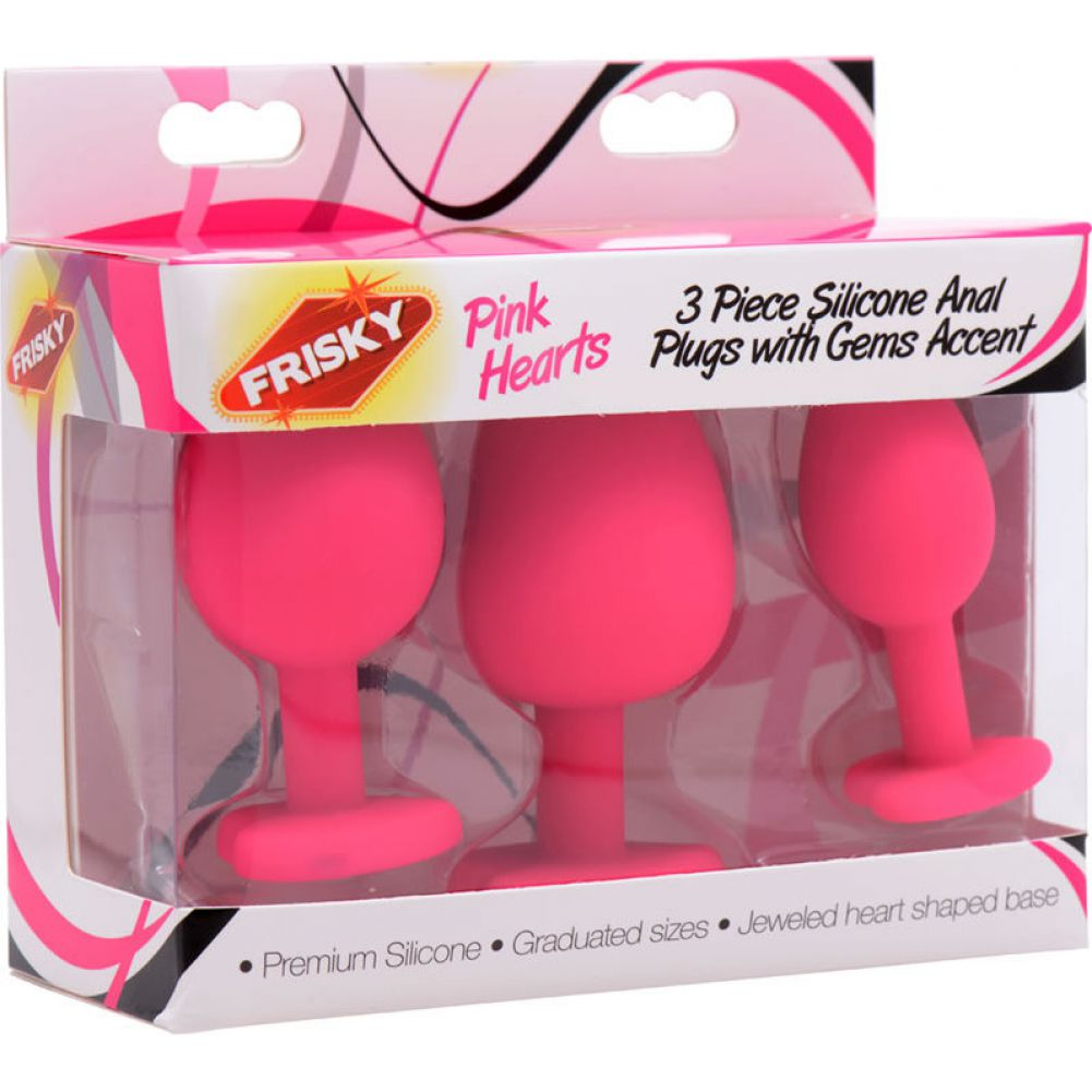 Frisky Hearts 3 Piece Silicone Anal Plugs with Gem Accents Pink - View #1