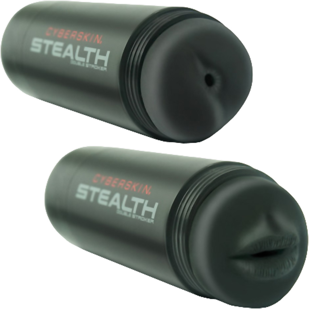 Topco Cyberskin Stealth Mouth and Ass Posable Dual Stroker for Men Black - View #2