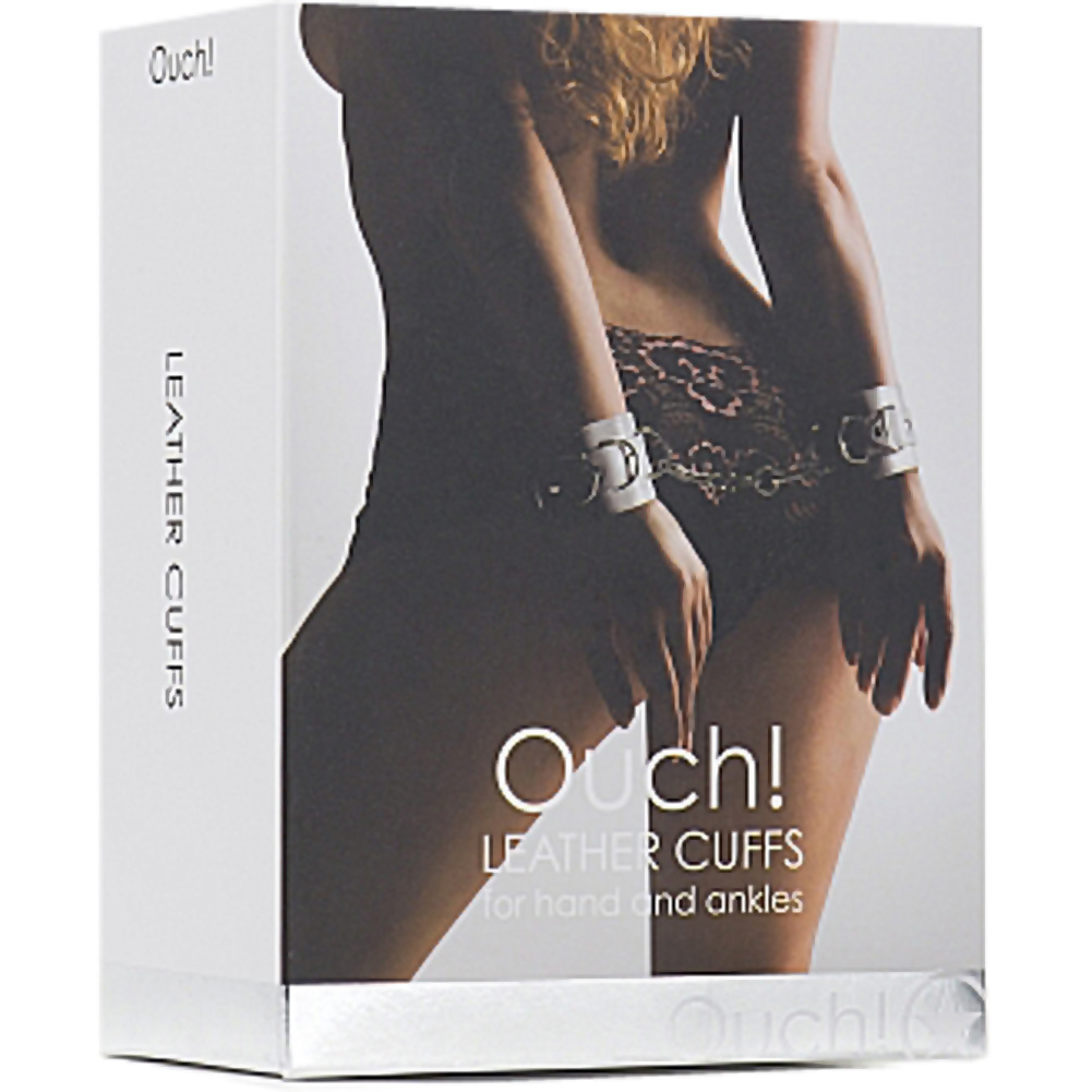 Ouch Leather Cuffs for Hands and Ankles by Shots One Size White - View #3