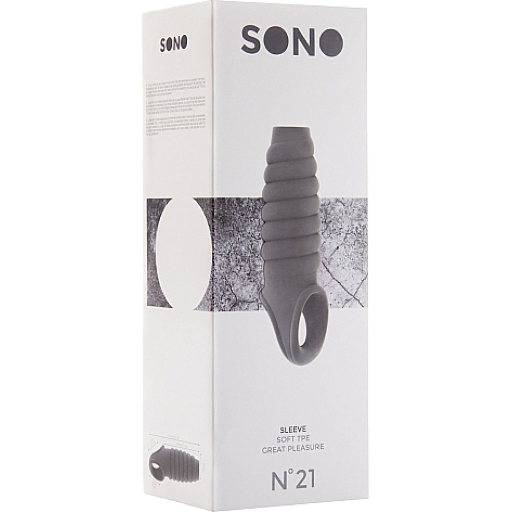 """Sono No 21 Ribbed Stretchy Penis Extension by Shots 8"""" Grey - View #1"""