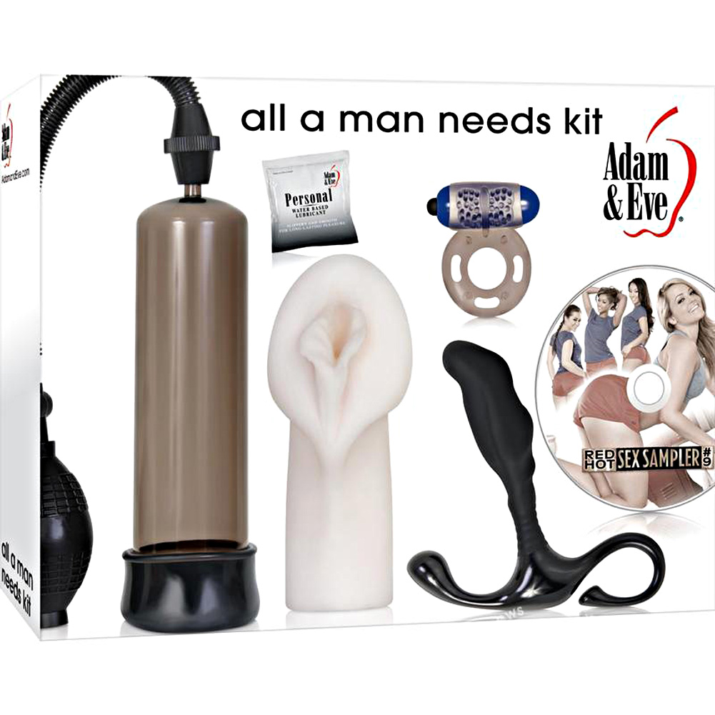 Adam and Eve All a Man Needs Male Stimulation Kit 4 Pieces Plus Lube - View #4