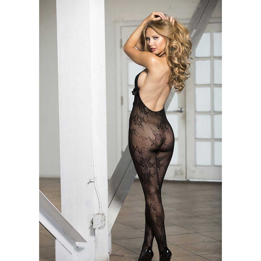 Image is loading Stretch-Lace-Open-Front-Body-Stocking-One-Size f3b61d33c