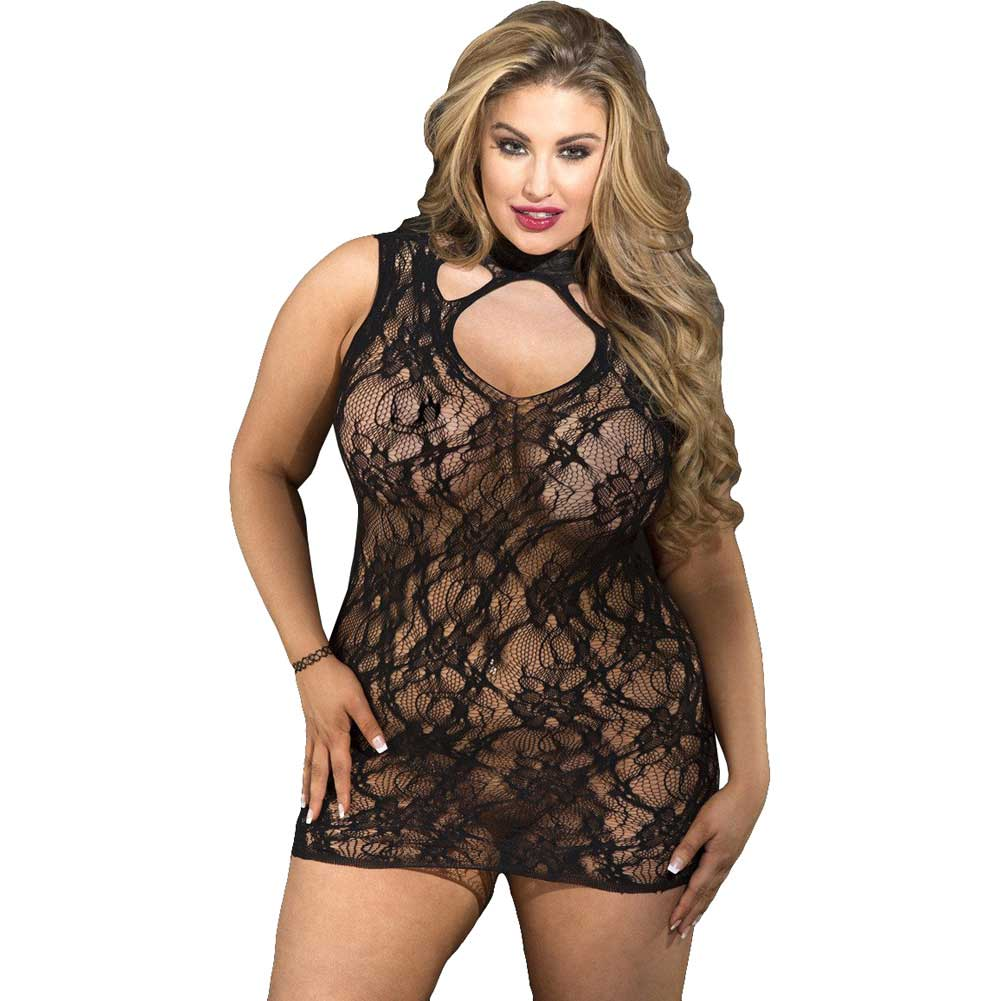 Shirley of Hollywood Stretch Lace Chemise Queen Black - View #1