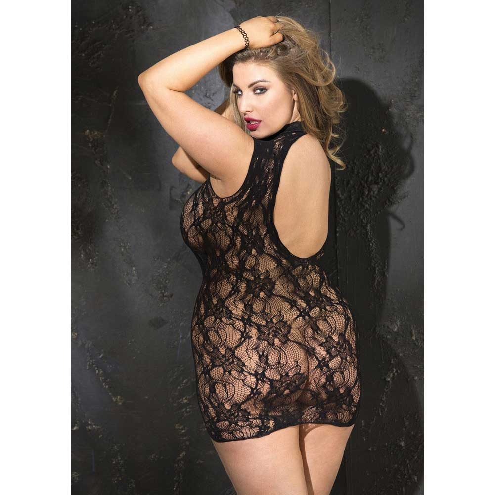Shirley of Hollywood Stretch Lace Chemise Queen Black - View #2