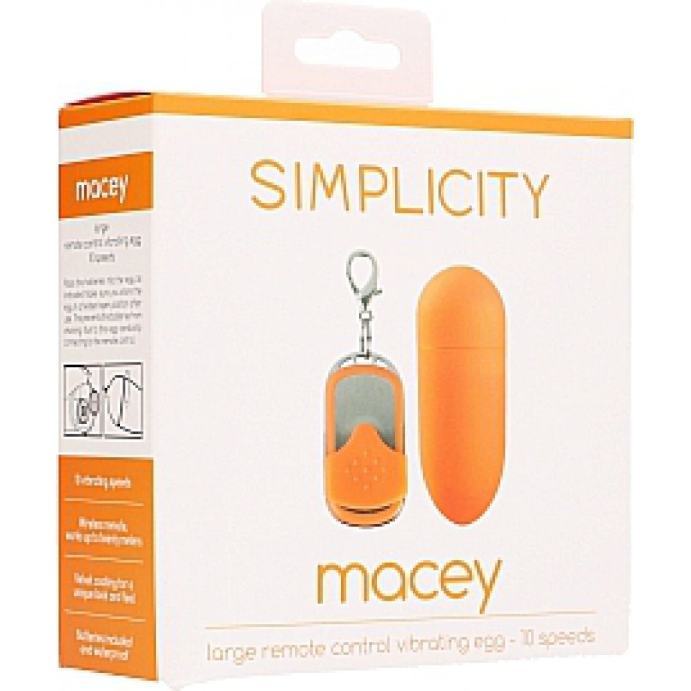 """Simplicity Macey Large 10-Speed Vibrating Egg with Wireless Remote 3.25"""" Tangerine - View #1"""