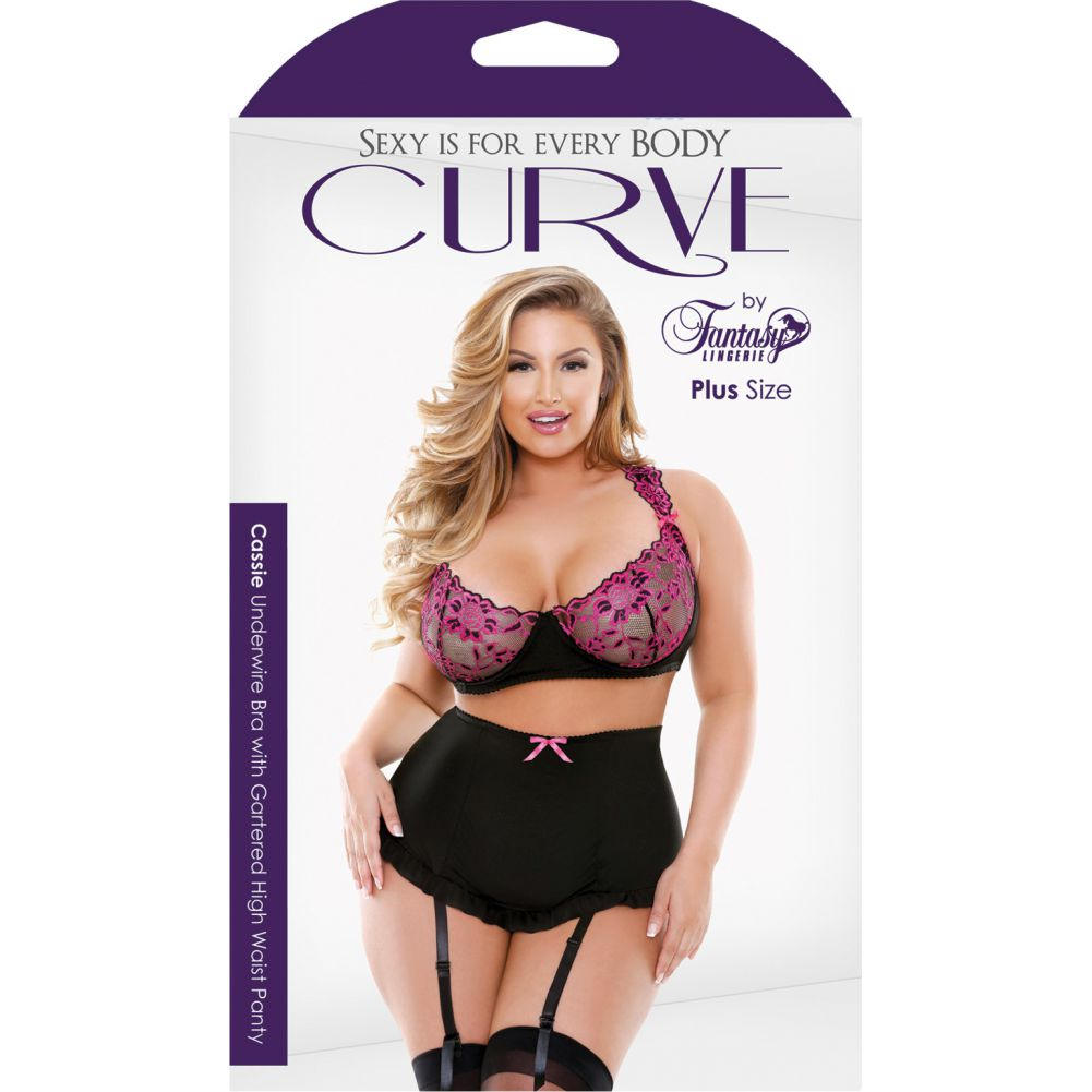 Curve Cassie Underwire Bra with Gartered Skirt and Panty 3X/4X Black/Pink - View #3