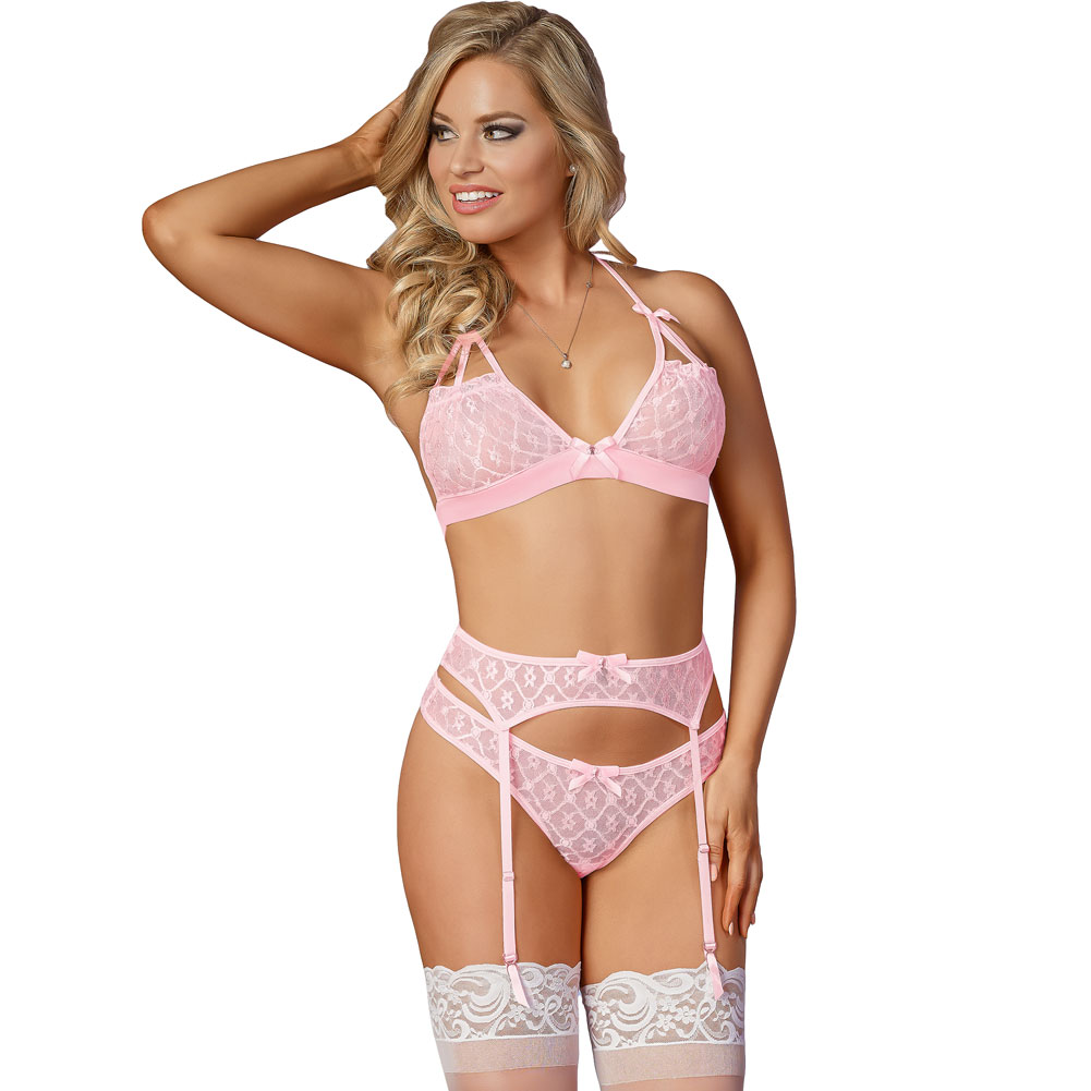 e2aa6c98dd168 Pink bra set features sheer lace cups with an embroidered diamond design  open cup panels with strappy detailing satin bow accents halter straps  satin ...