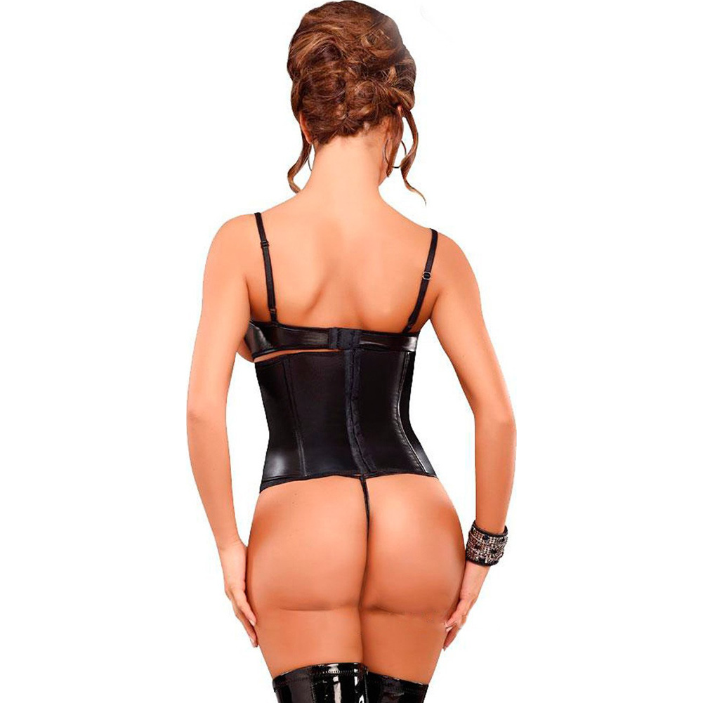 Lust Vixen Wet Look Faux Leather Cincher and Thong Set Queen Size Black - View #2