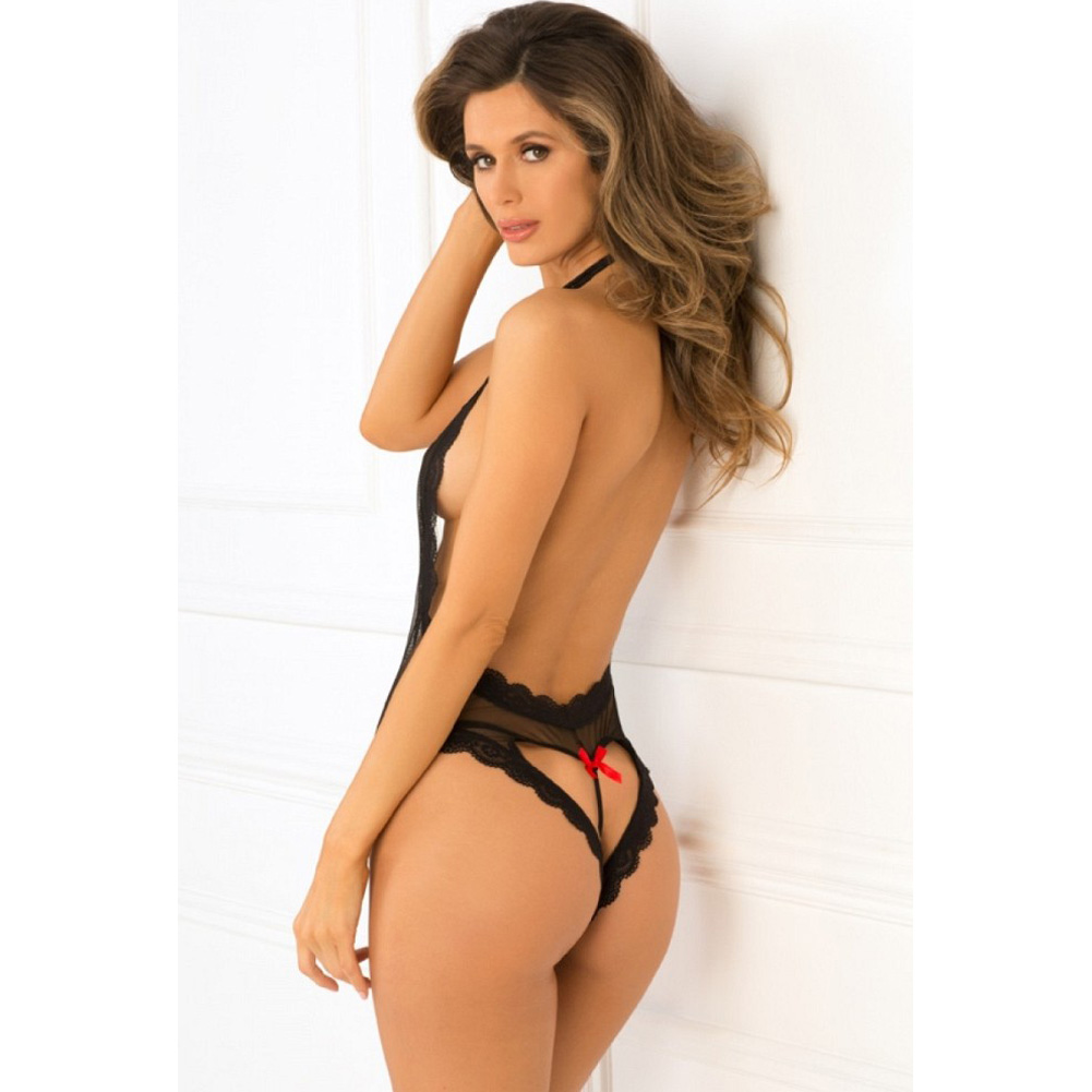 34da88932 Lingerie Women Rene Rofe Open Back Lace Net Teddy Black S m for sale ...