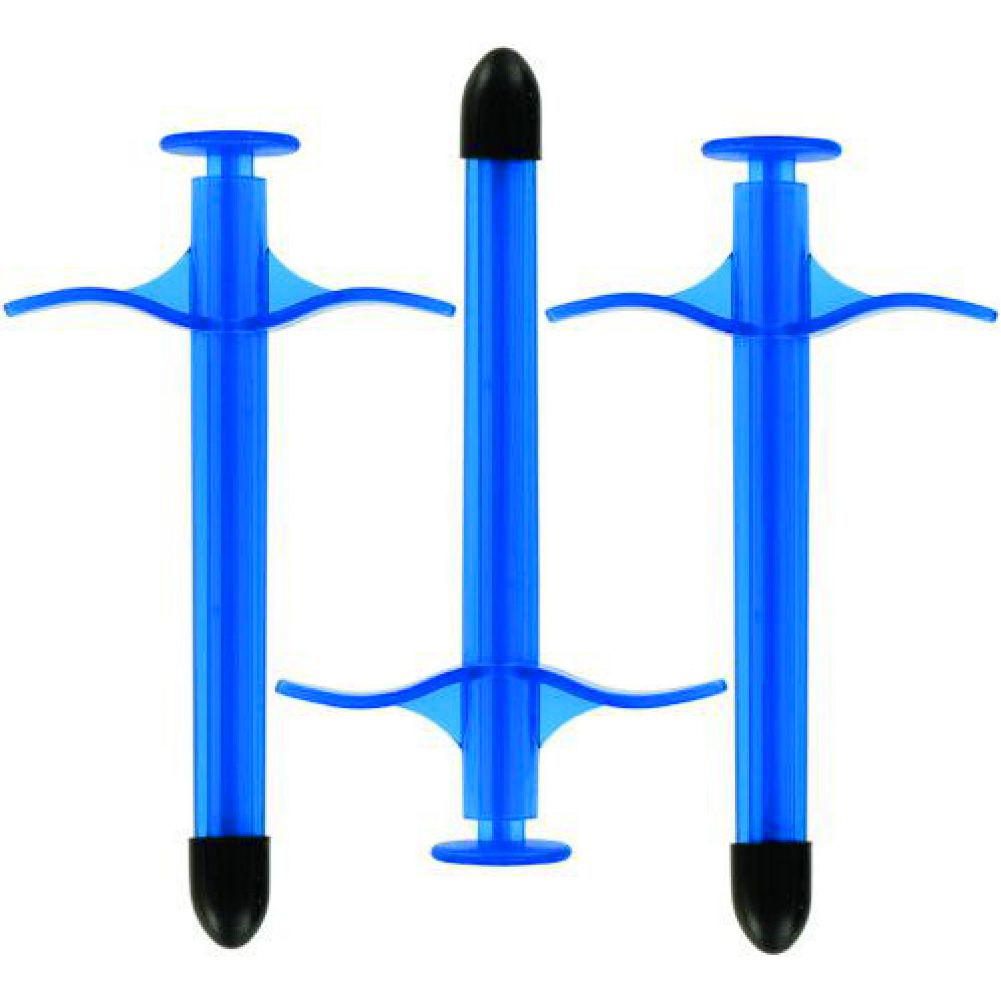 """KinkLab Disposable Lube Shooters 3 Count 5"""" Jewel Blue - View #2"""