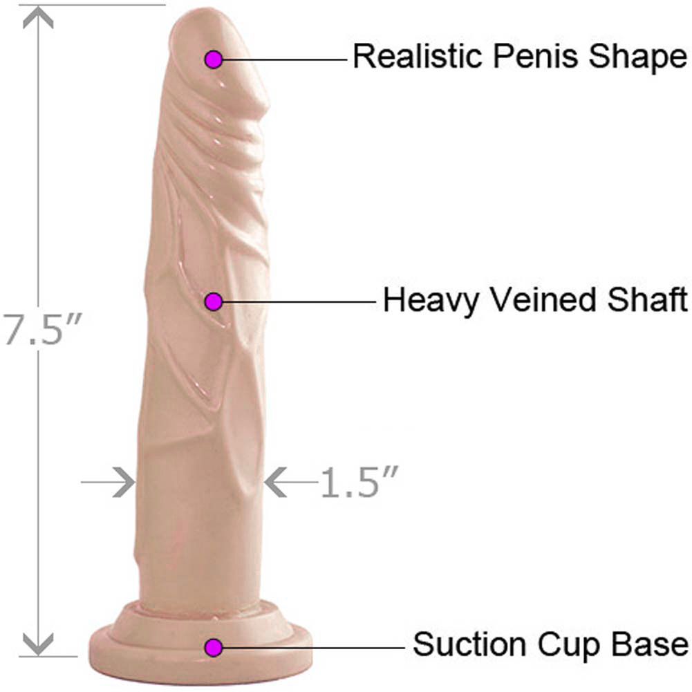 """Dr Skin Basic 7 Straight Realistic Cock with Suction Base 7.5"""" Natural - View #1"""