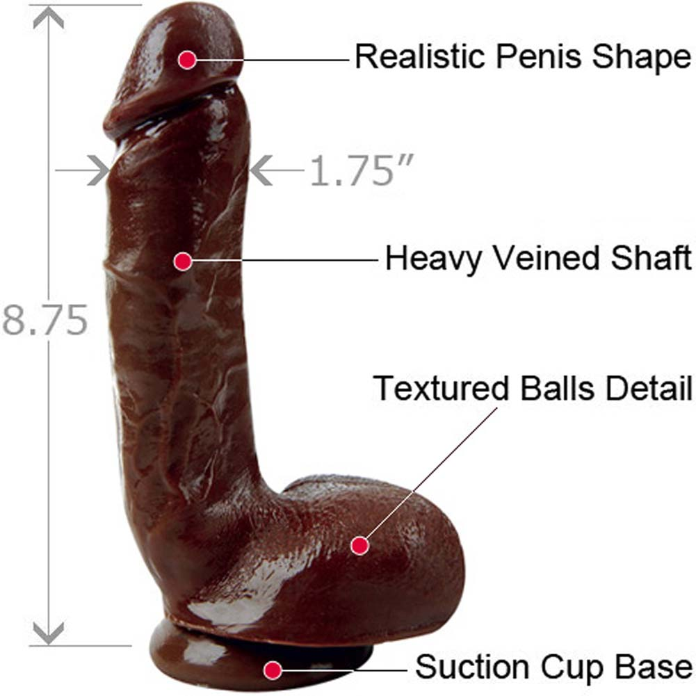 """Blush X5 Hard On Cock With Suction Cup 8.75"""" Brown - View #1"""